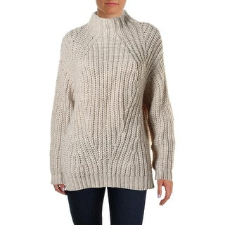 Sanctuary Womens Oval Wool Blend Oversized Pullover Sweater