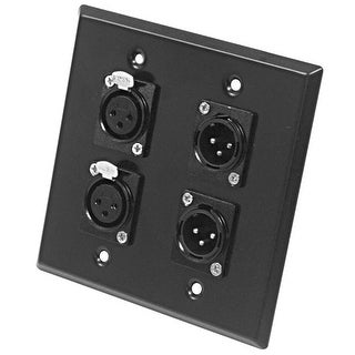 Seismic Audio Stainless Steel Wall Plate - 2 Gang - 2 XLR Male and 2 XLR Female Connectors
