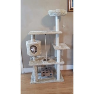 Tiger Tough Deluxe Playground Cat Tree House with Cat-IQ Busy Box and Rope