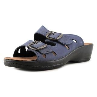 Spring Step Monstone Women Open Toe Leather Blue Slides Sandal