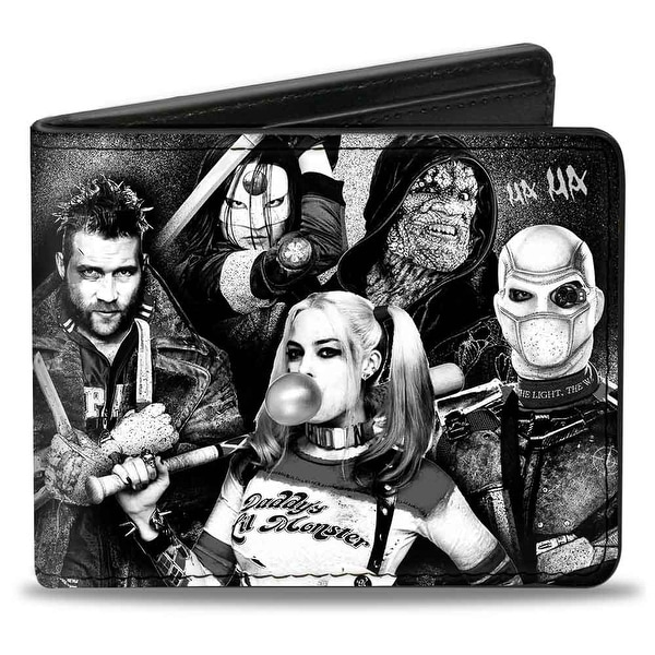 Suicide Squad 8 Character Group Pose2 Logo Black Grays Bi Fold Wallet - One Size Fits most