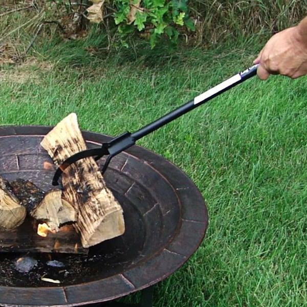 Sunnydaze Spring-Loaded Firewood Log Grabber Claw - 36 Inch Long