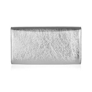 Saint Laurent YSL Silver Metallic Leather Large Belle de Jour Clutch Bag 361120