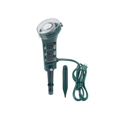 Monoprice 6 Outlet Out Door Yard Stake Power Strip - Green With 24 Hour Programable Timer