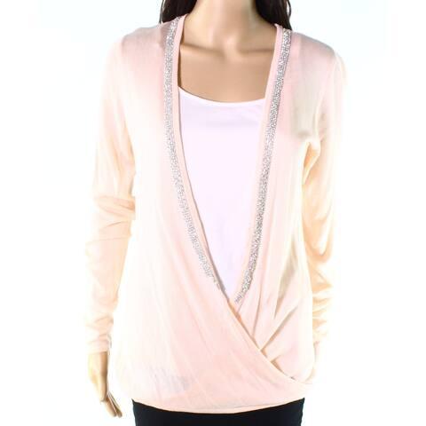 Belldini Blush Pink Womens Medium M Embellished Cardigan Sweater
