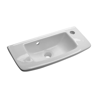 Wall Mount Vessel Sink White Grade A Vitreous China Scratch and Stain Resistant Offset with Overflow