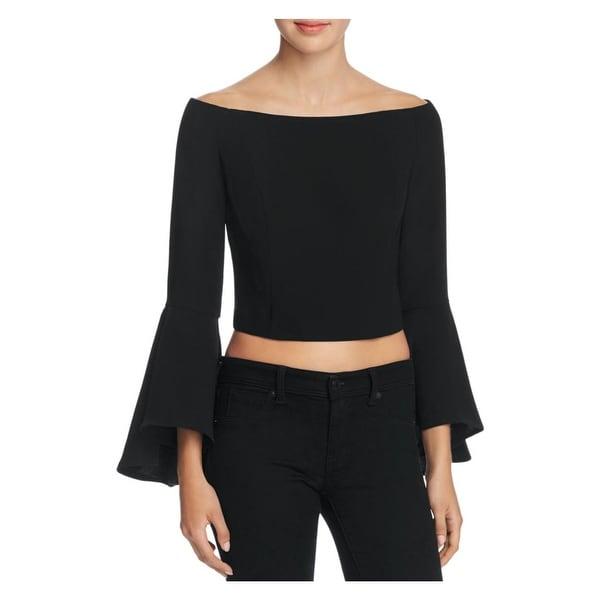 Bardot Womens Solange Blouse Bell Sleeves Off-The-Shoulder