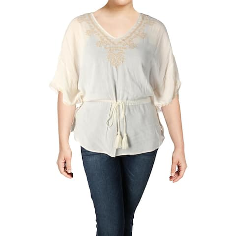 Jessica Simpson Womens Plus Tristan Tunic Top Woven Embroidered