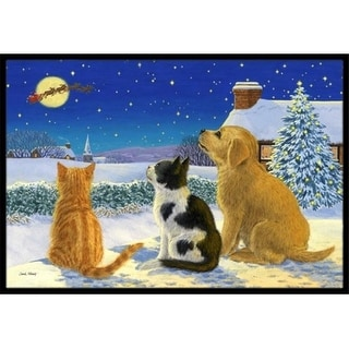 Carolines Treasures ASA2208JMAT Golden Retriever & Kittens Watching Santa Indoor or Outdoor Mat 24 x 36