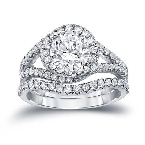 Auriya 14k Gold 1 7/8ctw Halo Diamond Engagement Ring Set Certified