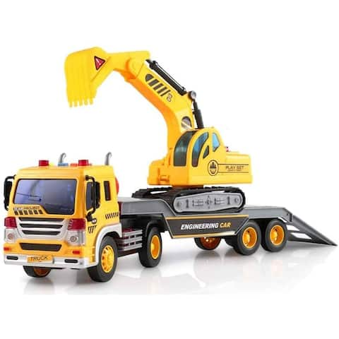 Friction Powered Flatbed Truck with Excavator Tractor - Push and Go