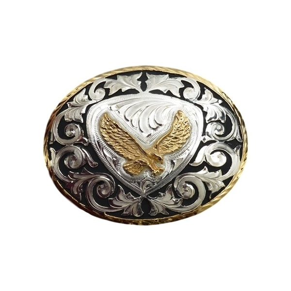 "Silver Strike Western Belt Buckle Oval Eagle Inlay Silver Gold - 4 1/4"" x 3 1/4"""