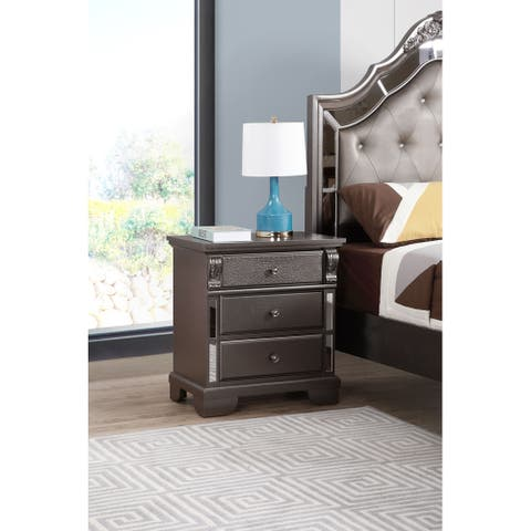 Ascot Mirrored 3-drawer Nightstand