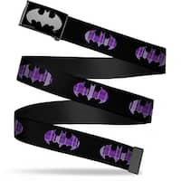 Batman Reverse Brushed Silver Cam Batman Signal Black Purple Plaid Web Belt