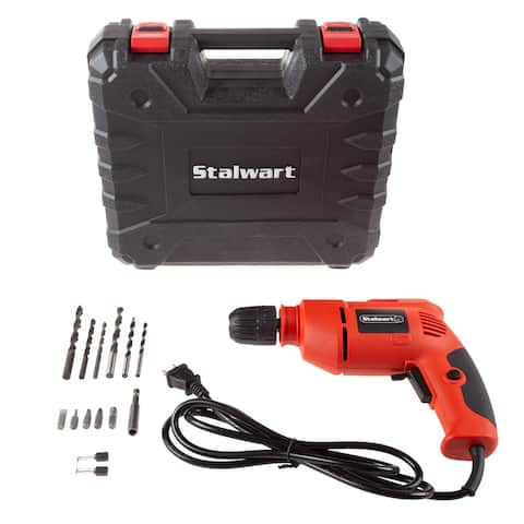 Electric Power Drill with 6-Foot Cord  Variable Speed, Reversible Wired Screwdriver, Carrying Case and Accessories by Stalwart