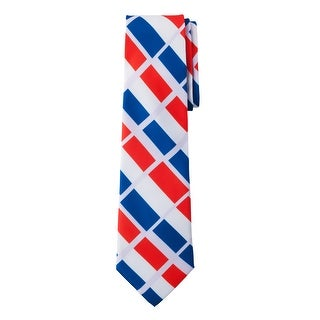 Jacob Alexander France Country Colors Men's Necktie - 4-Tone Blue White Red Off-Pink Design