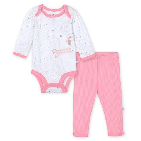Just Born® Baby Girls' 2-Piece Organic Lil' Llama Long Sleeve Bodysuit and Pant Set - Pink/White