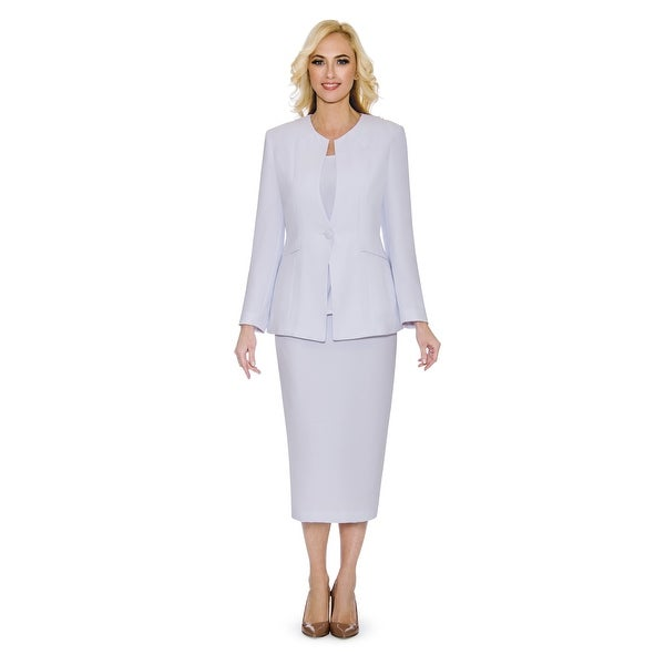Giovanna Signature Women's Non-collar 3-piece Skirt Suit. Opens flyout.