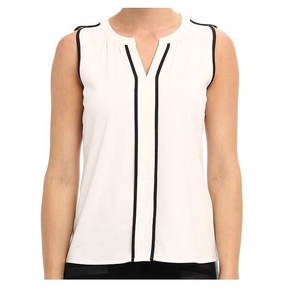 cfc518786e4d7e Calvin Klein NEW White Black Piped Women's Size Large L Blouse Shell