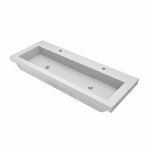 "Trough 48-inch NativeStone Undermount/ Drop-in Double Bathroom Sink - 48"" x 19"" x 5"""
