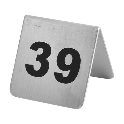 Restaurant Stainless Steel Free-standing Number 39 Table Sign Black Silver Tone