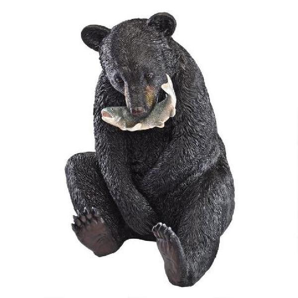 """22.5"""" Bear Cub Sitting Upright Hunting Fish Statue - N/A"""