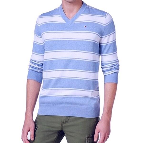 2fbedef05e6a Shop Tommy Hilfiger NEW White Blue Mens Size XS Stripe Knit V-Neck ...