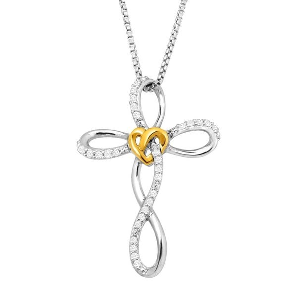 1/8 ct Diamond Cross Love Knot Pendant in Sterling Silver and 14K Gold
