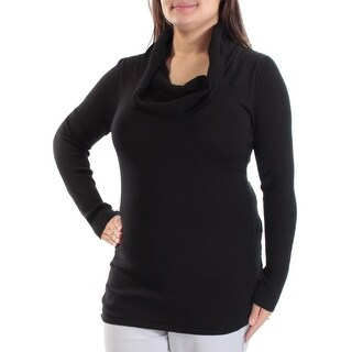 Womens Black Long Sleeve Cowl Neck Casual Sweater Size XL