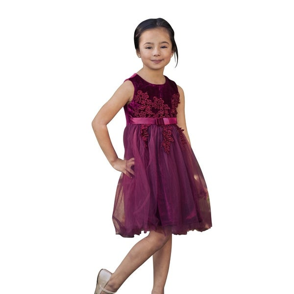 8344e6b96c0 Shop Just Couture Little Girls Wine Velvet Applique Tulle Flower Girl Dress  - Free Shipping Today - Overstock - 23082894