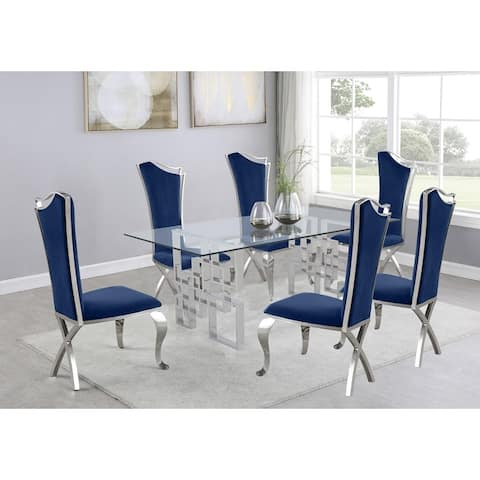 Best Quality Furniture 7-Piece Dining Set with Stainless Steel-Legged Dining Chairs