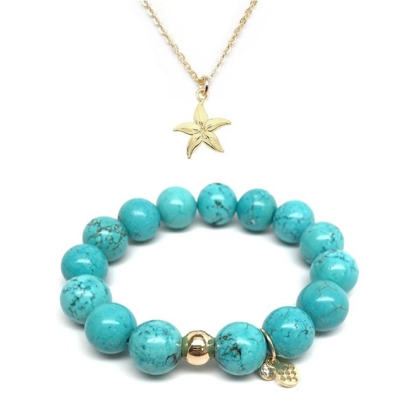 "Turquoise Magnesite 7"" Bracelet & Starfish Gold Charm Necklace Set"