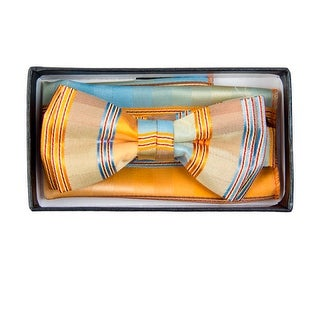 Boy's Gold And Sky Blue Plaid Pre-tied Adjustable Bow Tie With Hanky - One size