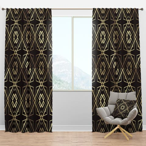 Designart 'Gold And Black Art Deco Pattern' Mid-Century Modern Blackout Curtain Panel