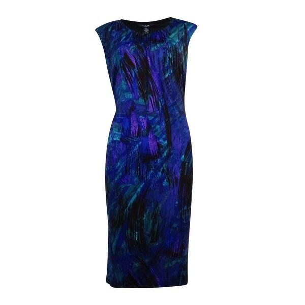 Style & Co. Women's Pleated Neck Sleeveless Print Dress