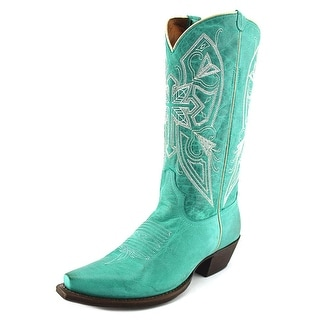 American Rebel Boot Company Naomi Cross Women Leather Green Western Boot