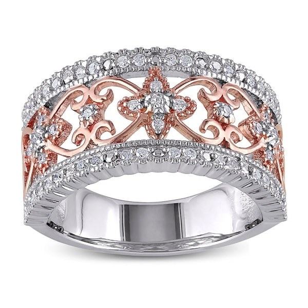 2-tone Sterling Silver Filigree 1/4ct TDW Diamond Band by Miadora. Opens flyout.