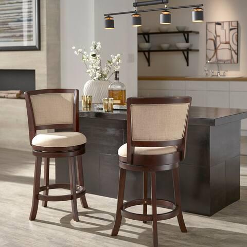 Menas Dark Cherry Finish Beige Linen Swivel Chair by iNSPIRE Q Classic