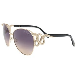 Roberto Cavalli RC897/S 28B Hatysa Gold/Black Round Sunglasses - 60-16-135
