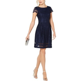 Link to Jessica Howard Womens Petites Mini Dress Lace Cap Sleeve - Navy Similar Items in Petites