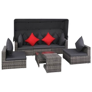 vidaXL 7 Piece Garden Lounge Set with Cushions Poly Rattan Gray