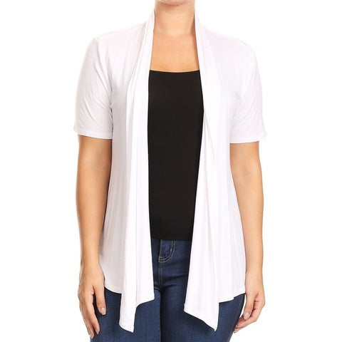 Women Plus Size Short Sleeve Cardigan Casual Cover Up White
