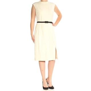 Womens Beige Cap Sleeve Knee Length Sheath Wear To Work Dress Size: 10