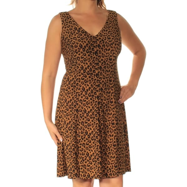 69e1c61b4ffa Shop AMERICAN LIVING Womens Brown Animal Print Short Sleeve V Neck Above  The Knee Fit + Flare Dress Size: 12 - On Sale - Free Shipping On Orders  Over $45 ...