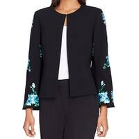 Tahari By ASL Black Womens Size 6 Open Front Embroidered Jacket