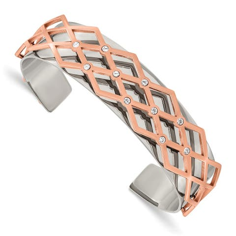 Chisel Stainless Steel Polished Rose IP-plated with Swarovski Crystal 16mm Bangle