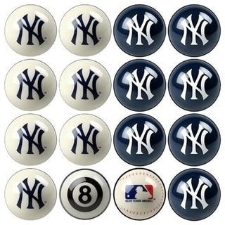 MLB Yankees Baseball Billiard Balls Complete Set of 16 Balls