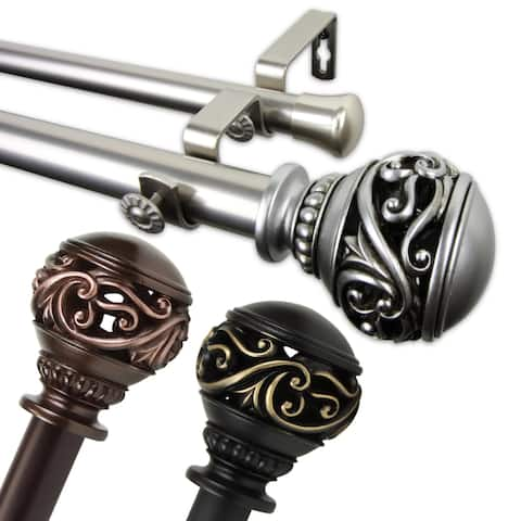 InStyleDesign Leah 1 inch Diameter Adjustable Double Curtain Rod