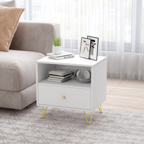 1-drawer Nightstand with One Open Shelf