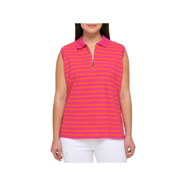 56906a10 Shop Tommy Hilfiger Womens Plus Polo Top Striped 1/4 Zip - Free Shipping On  Orders Over $45 - Overstock - 20996919
